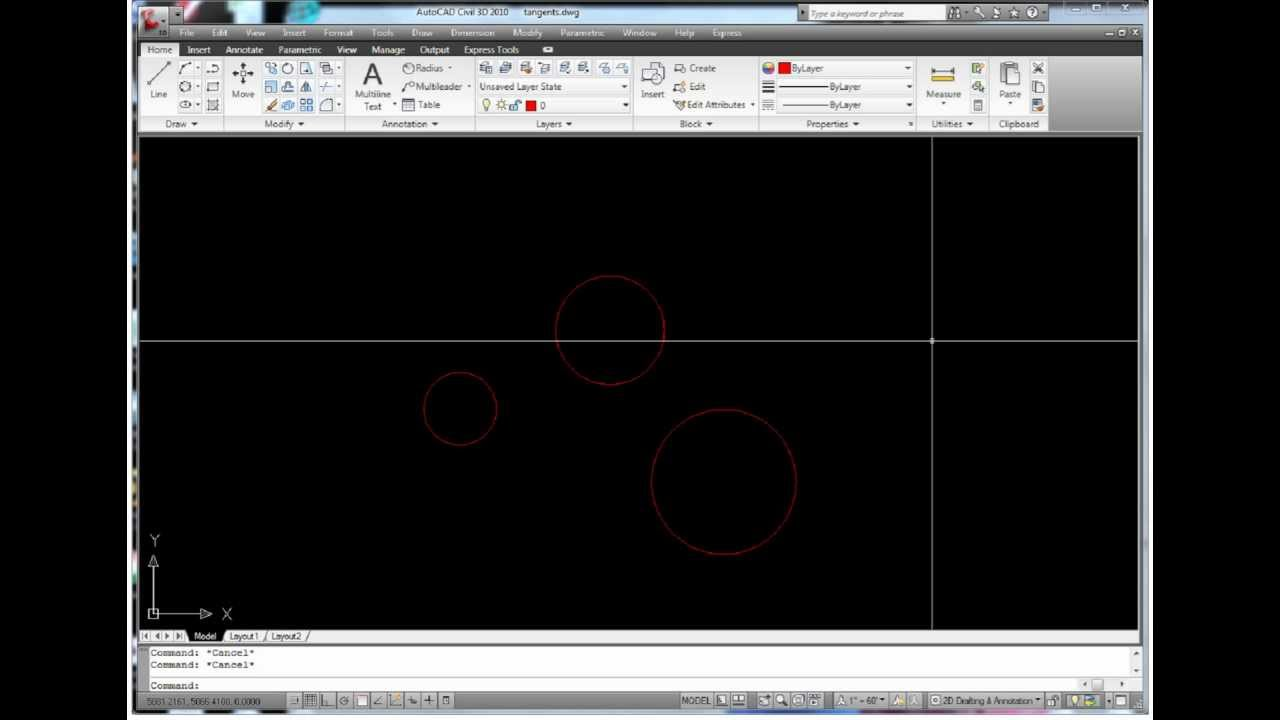 Drawing Lines With Angles In Autocad : Drawing tangent lines in autocad youtube