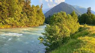 Calming Mountain Turquoise River. Relaxing Nature Sounds. (10 hours). White noise for sleeping.