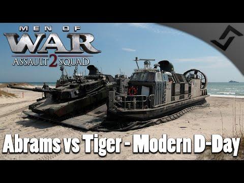 M1 Abrams vs Tiger I - Modern D-Day - Men of War: Assault Squad 2 Beach Invasion Gameplay