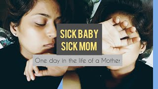 Mom is Sick Alongwith Child : Mother love kiss care  is magical she is best doctor in the world