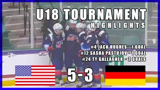 Team USA wins against Germany in U18 IIHF tournament - Game highlights