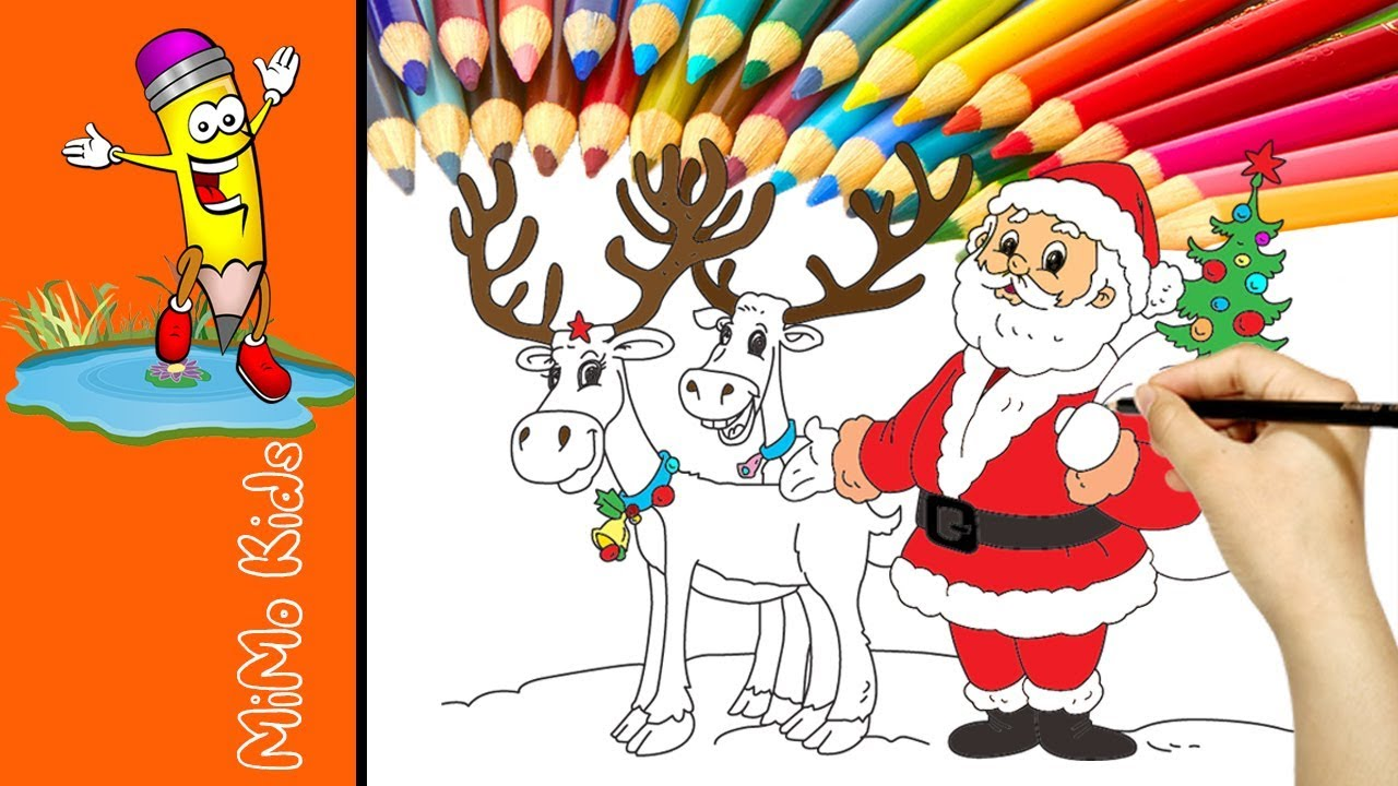 Santa And Reindeer Christmas Coloring Pages Painting For Kids Good Learning Colors For Children