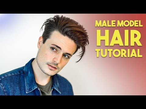 Mens Modern Messy Slick Back Hair Tutorial | Male Model Hairstyle thumbnail