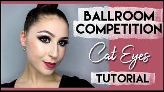 Ballroom Competition Makeup - Bronze Glitter Cat Eyes