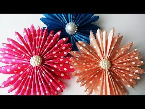 Видеоурок цветы из атласных лент для начинающих