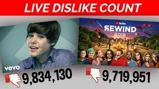LIVE DISLIKE COUNT: Youtube Rewind 2018 VS Justin Bieber Baby Who Will Prevail?