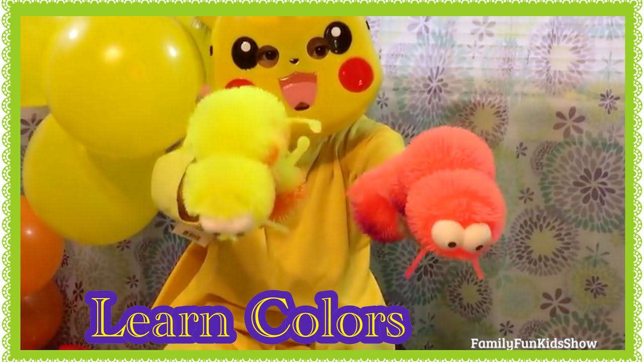 Squishy Worm Ball : Learn Colors With Pokemon Pikachu Caterpillar Puffer Ball Colors Squishy Worm Nursery Rhymes ...