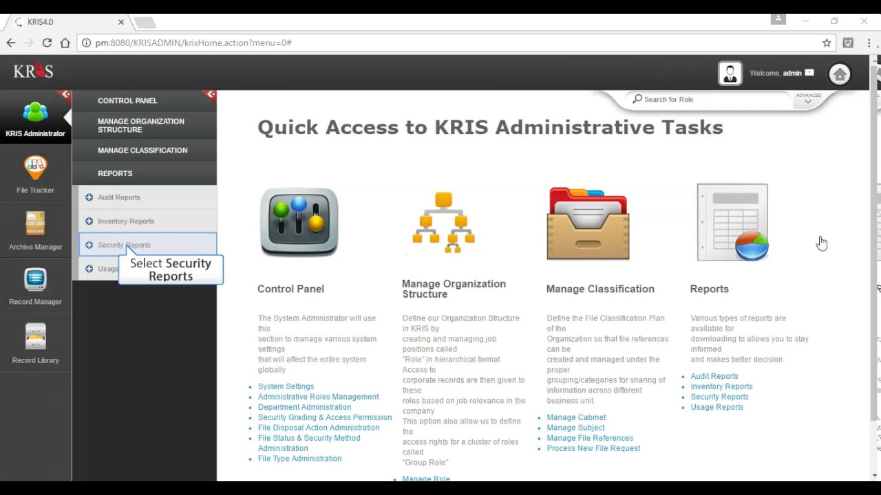 Admin Management: Generating File Reference report with KRIS Record and  Document Management System