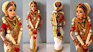 Kerala barbie saree making | Indian bridal doll making/jewellery | Traditional barbie saree draping