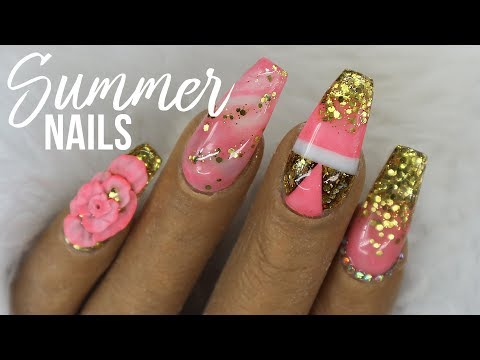 HOLIDAY ACRYLIC NAILS CORAL AND GOLD GLITTER WITH MARBLED ACRYLIC