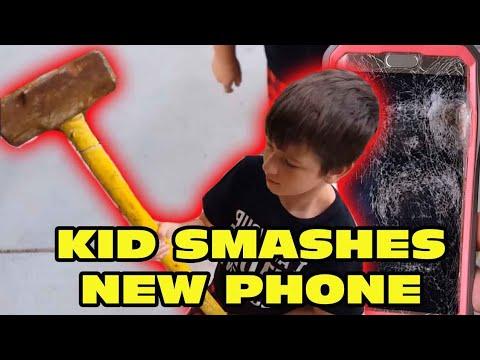 Kid Temper Tantrum Smashes New Phone