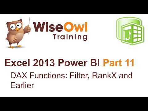 PowerPivot videos | The FILTER, RANKX and EARLIER functions