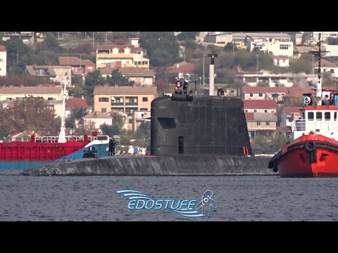 French Navy Rubis S601 Nuclear Submarine Departing Split - Croatia HD