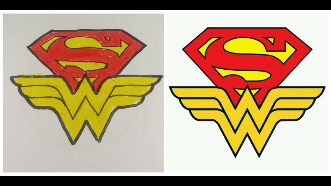 How To Draw Wonderwoman And Superman Icon Wonder Woman And Superman Logo Drawing For Kids Youtube