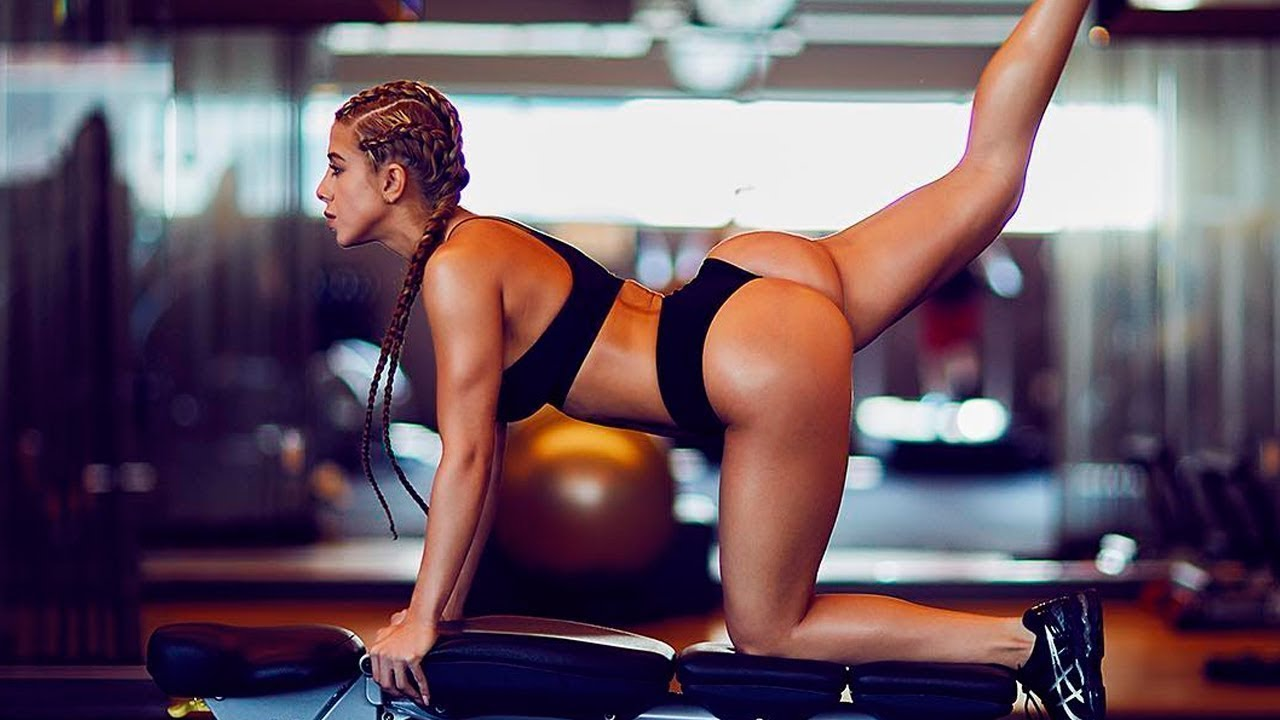 Sport sensuality sensual sexy girl woman fitness workout exercise gym muscle dumbbells back reflection mirror sports