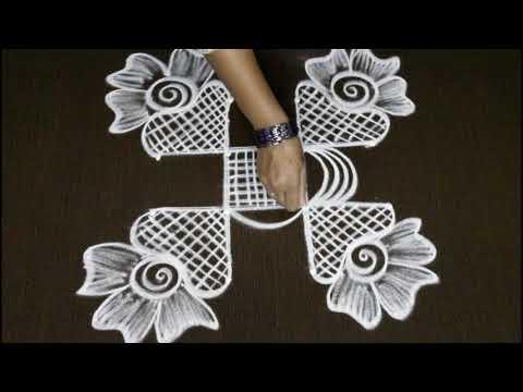 creative peacock muggulu designs with 4x2 dots - birds kolam designs - simple rangoli art designs