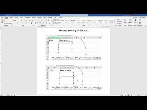 Reverse Scoring using EXCEL