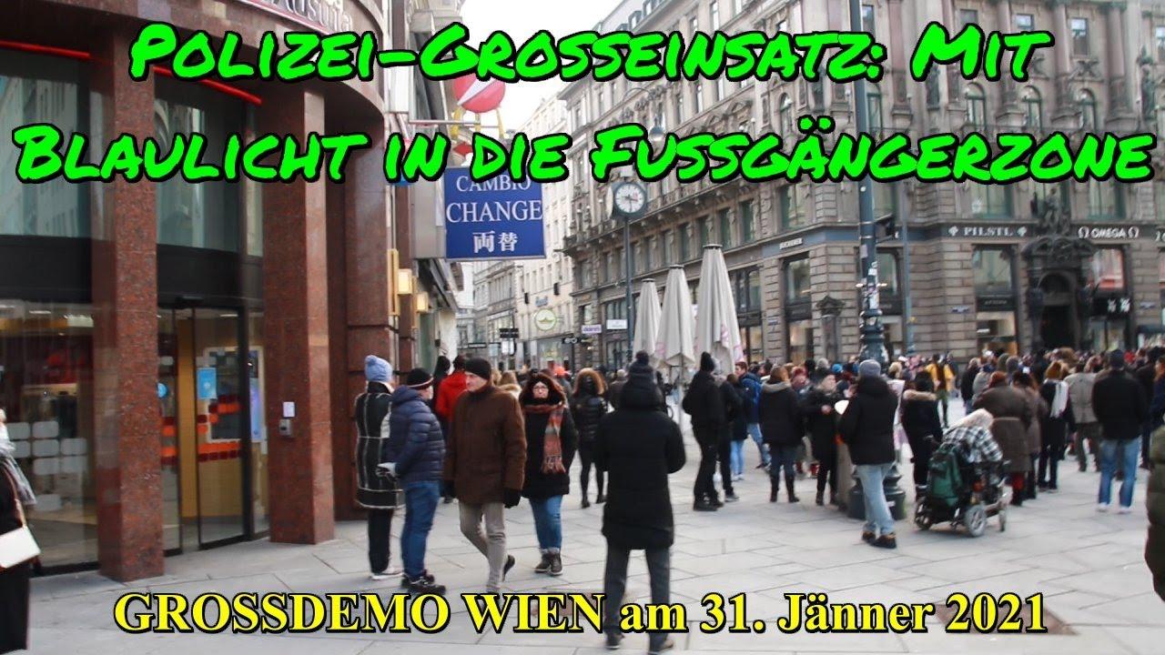 DEMO WIEN am 31.01.2021: POLIZEI-GROSSEINSATZ: Mit Blaulicht in die Fußgängerzone