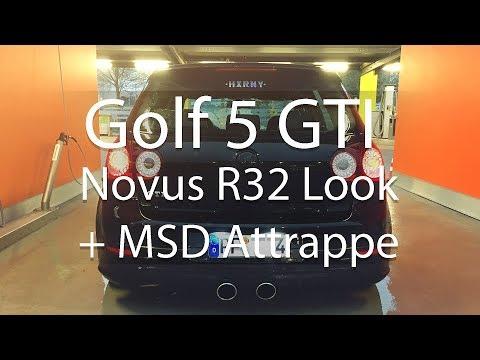 VW Golf 5 V GTI 2.0TFSI Exhaust Sound   Novus R32 Look ESD