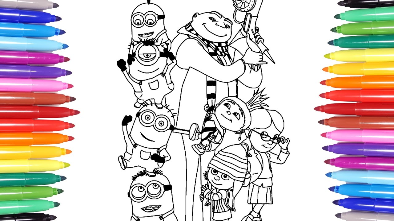 despicable me 3 minions coloring page learn colors for kids 2
