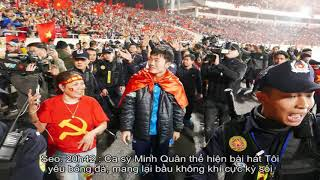 Thầy trò HLV Park Hang Seo hát ca khúc Niềm tin chiến thắng ở Mỹ Đình