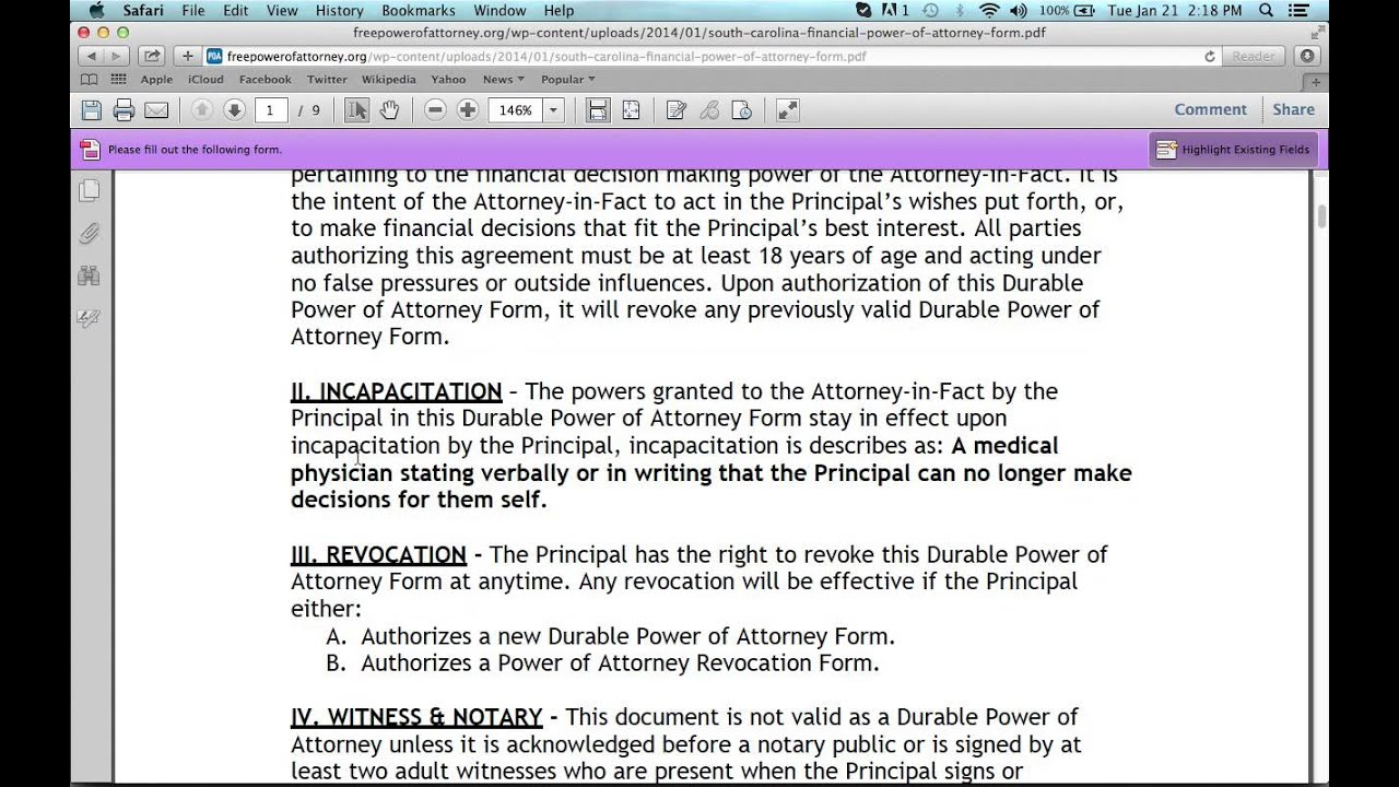 Free Download Special Power of Attorney Form