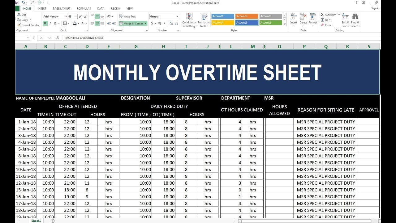 97 how to make monthly overtime sheet in excel hindi youtube