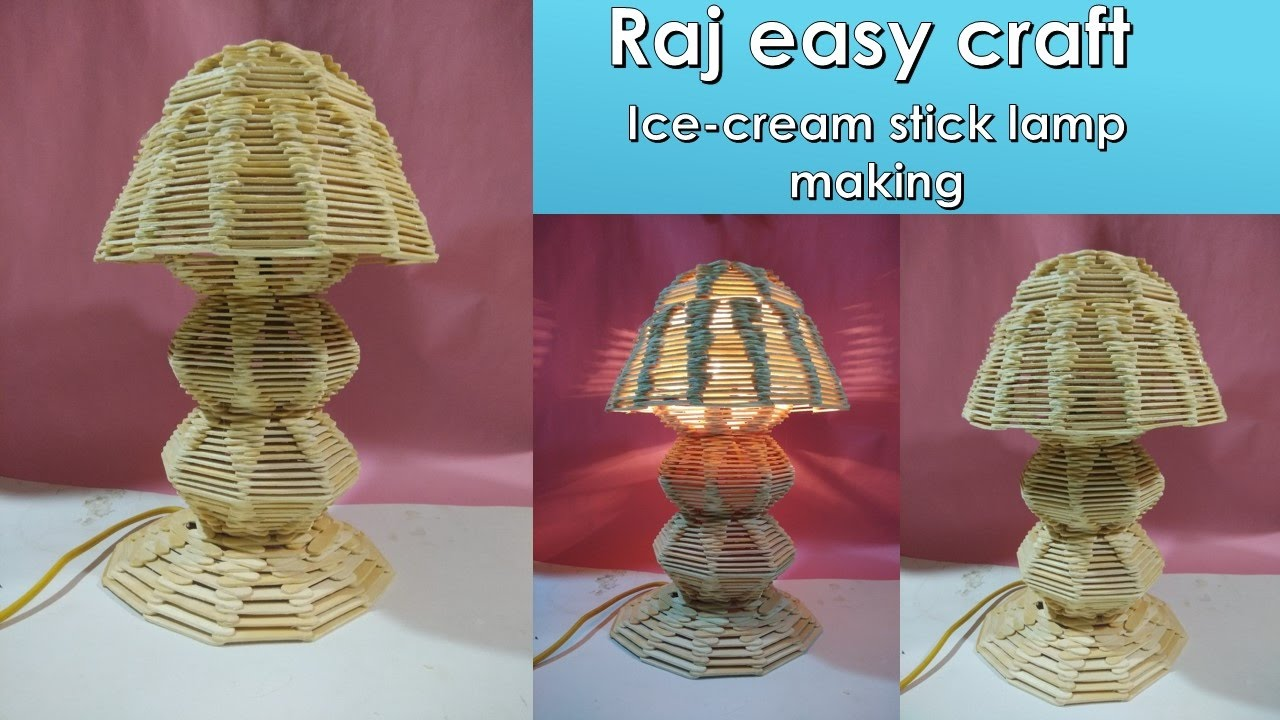 How to make popsicle stick lamp || crafts || DIY | ice cream stick ... for Craft Lamp Making  165jwn