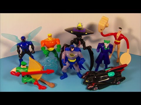 2010 BATMAN THE BRAVE and THE BOLD SET OF 8 McDONALD'S HAPPY MEAL KID'S TOY'S VIDEO REVIEW