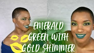 EMERALD GREEN WITH GOLD SHIMMER   MAKEUP TUTORIAL   BEAUTY BY KANDI