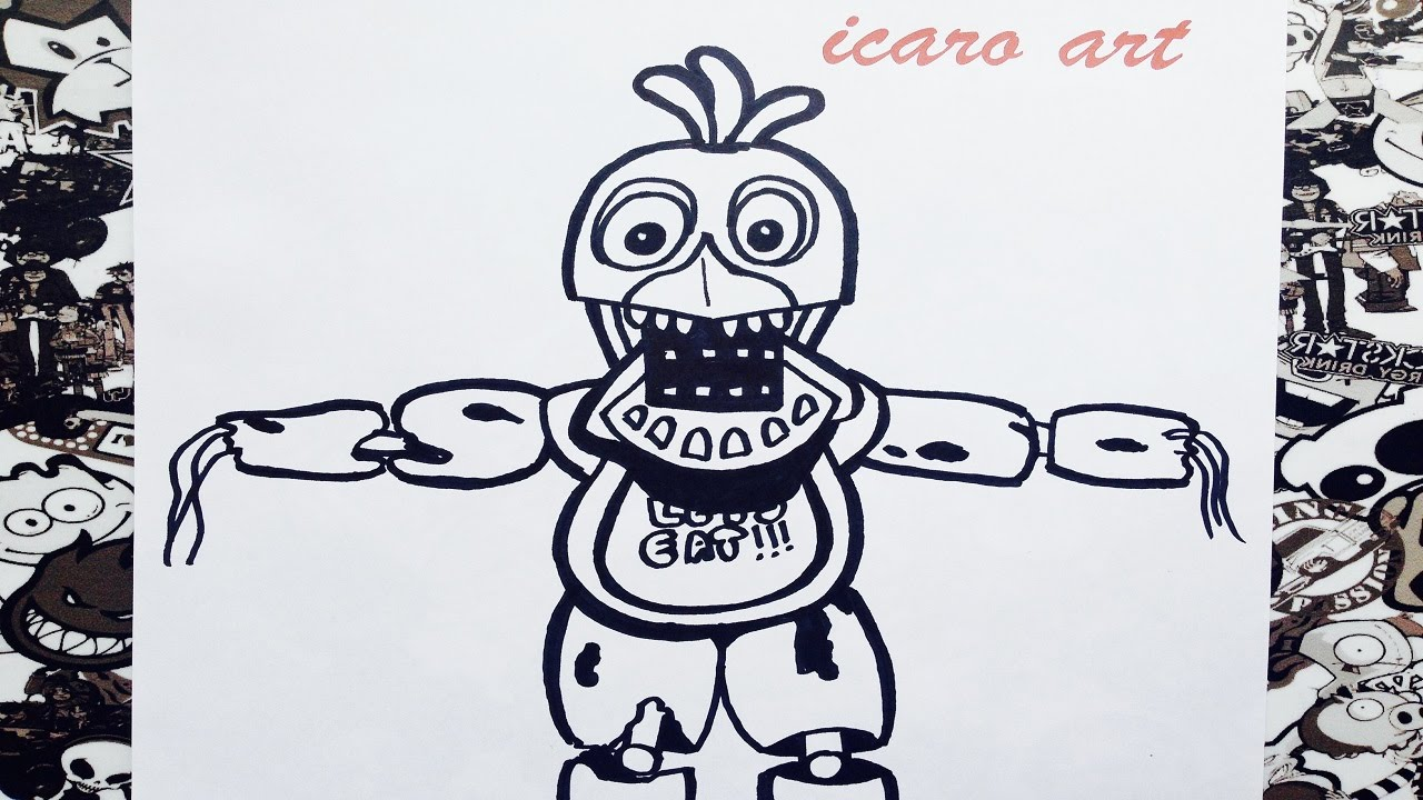 Como Dibujar A Old Chica De Five Nights At Freddys How To Draw Old Chica