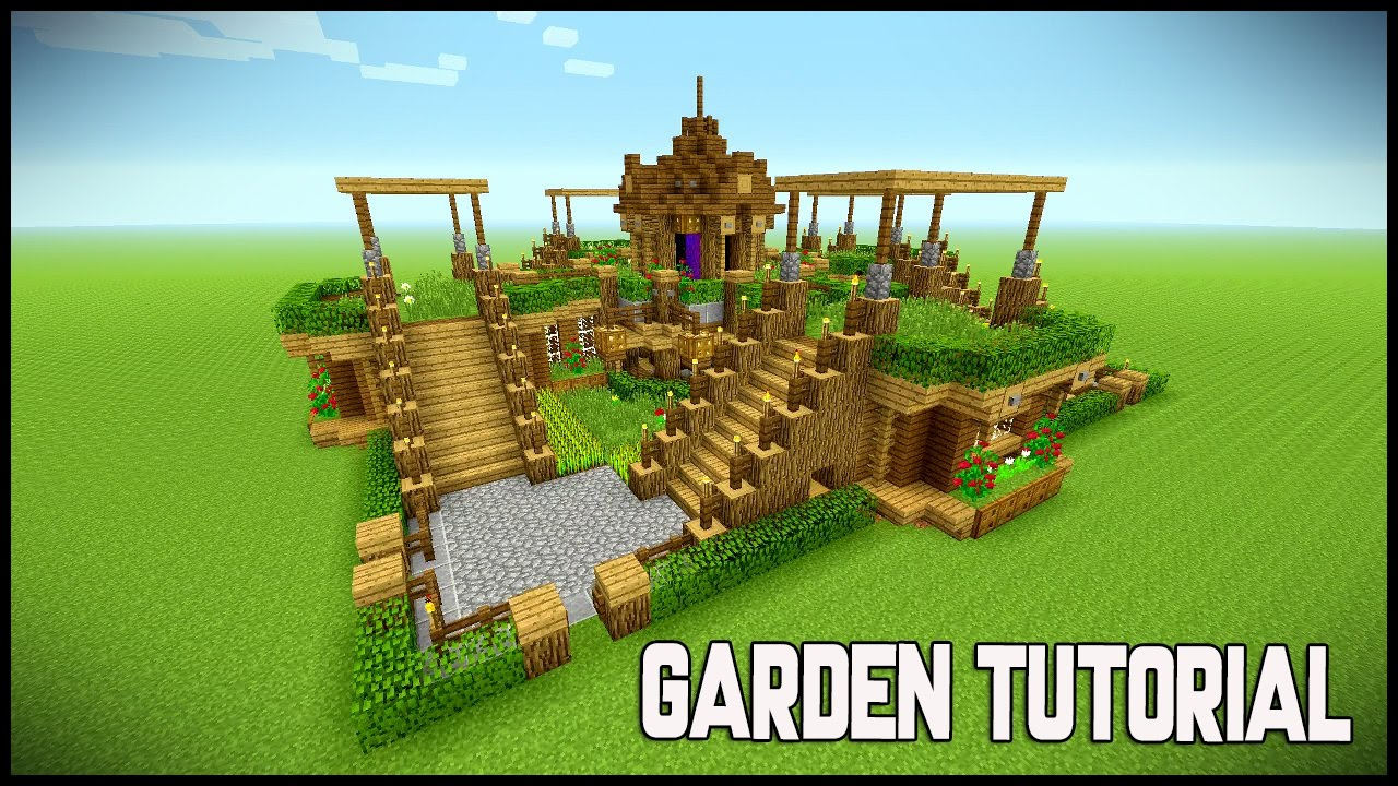 minecraft beautiful garden garden decoration ideas underground survival base tutorial youtube