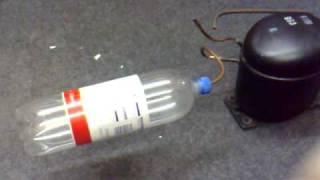 Ice cream freezer compressor blows up plastic bottle!