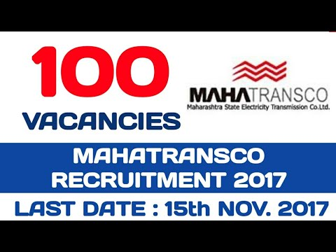 MAHATRANSCO RECRUITMENT 2017 - FOR 100 ASSISTANT ENGINEER VACANCIES | Government Job | Apply Now