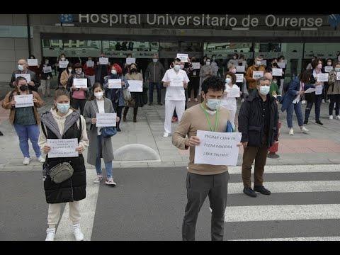 Trabajadores del CHUO protestan contra el cierre de camas