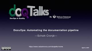 "DOQ Talks 2019: ""DocuOps: Automating the documentation pipeline"""
