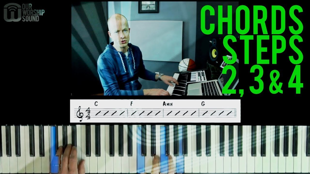 Repeat Piano chords: steps 2, 3, & 4 by OurWorshipSound