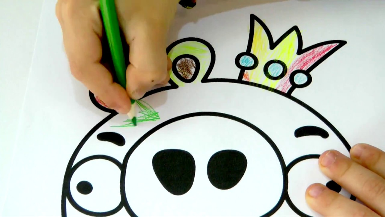 Bad piggies coloring pages for kids with colored pencils video for kids how to draw pig king
