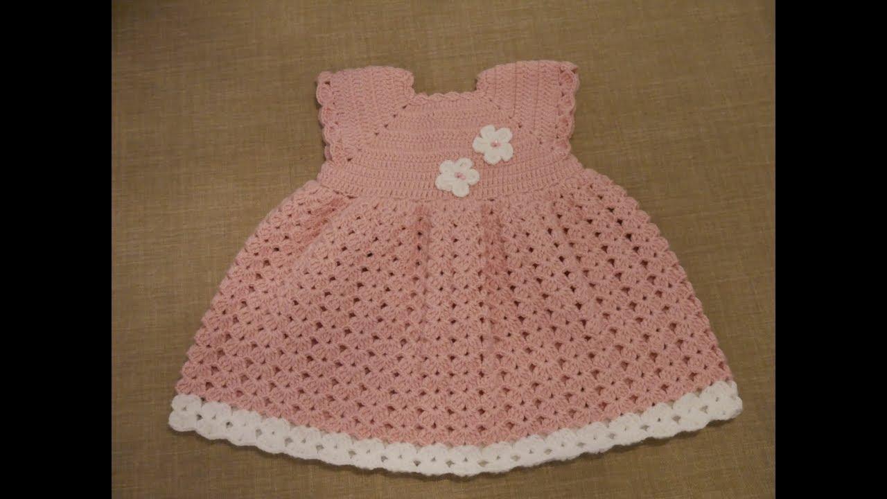 1f2d6a9af شغل فستان كروشة لعمر سنة / How To Knit A Baby Dress. Najos Crochet