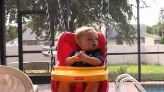 Caleb On Outside Baby Swing