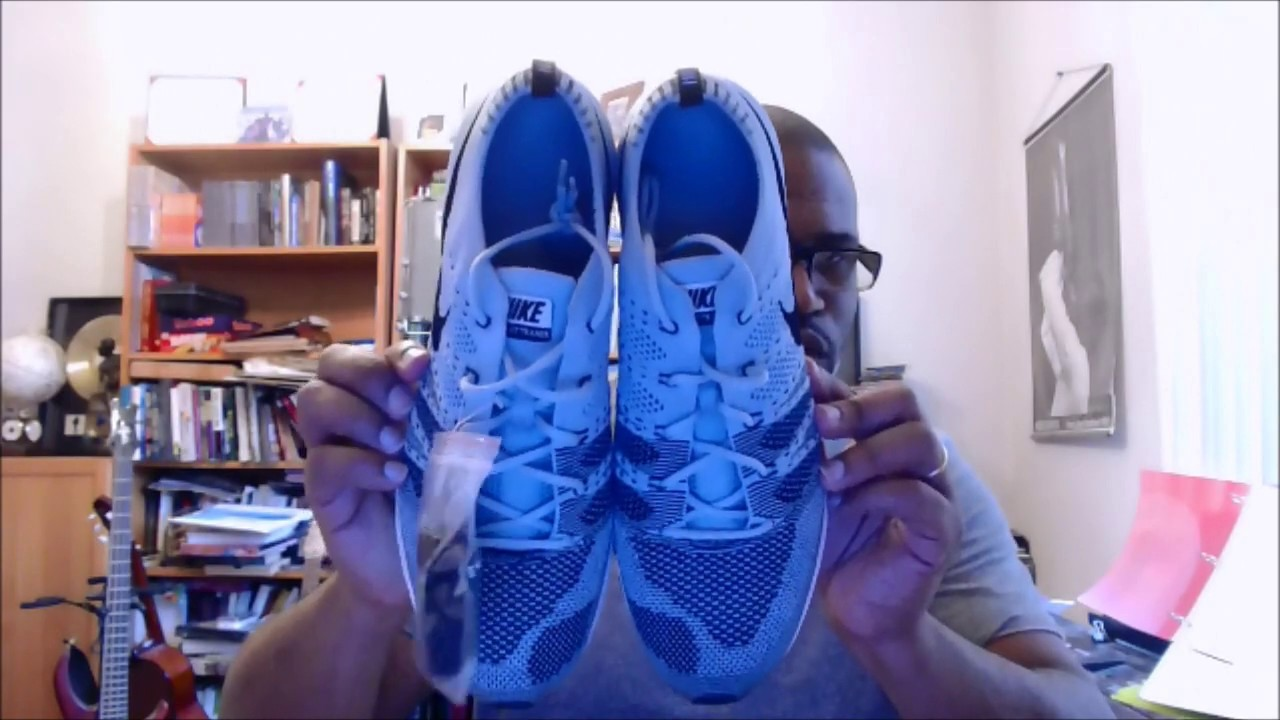 5be245bf9619 Nike Flyknit Trainer AH8396-400 Cirrus Blue Black-White - YouTube