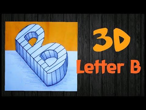 3D Letter B   'B' three dimensions   How to make 3D Art?
