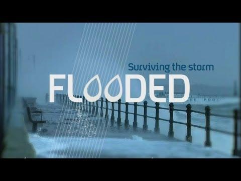 Life on flooded street in Egham