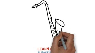 Easy Step For Kids How To Draw a Saxophone