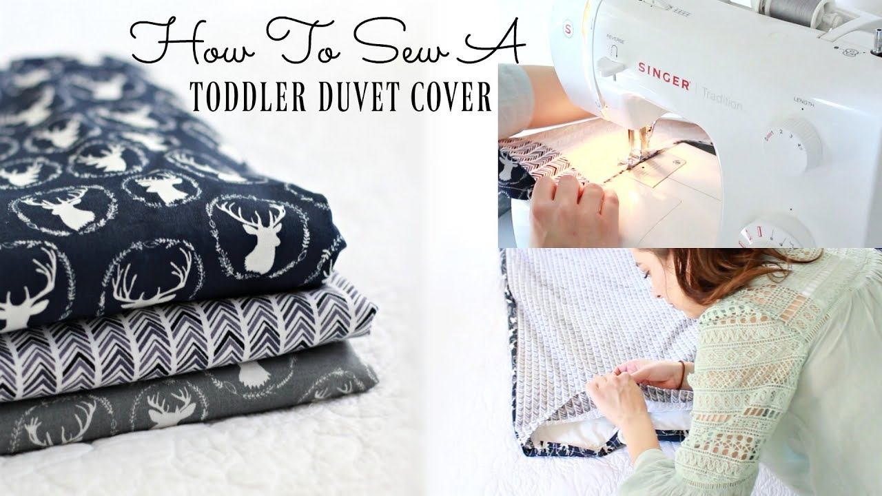 HOW TO MAKE A TODDLER DUVET COVER! SEW WITH ME! DIY Toddler Bed Comforter cover