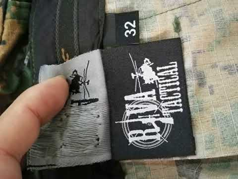 Sew labels on military camo pants