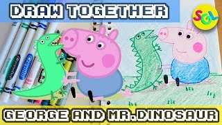 George and Mr. Dinosaur from Peppa Pig - How to Draw & Color