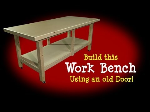 Workbench Made From Old Door Youtube