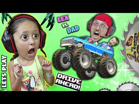 MONSTER TRUCKS ON MY HEAD! Duddy vs. Lex! Lets Play DRIVE AHEAD! (FGTEEV Crashing Stunt Vehicles)