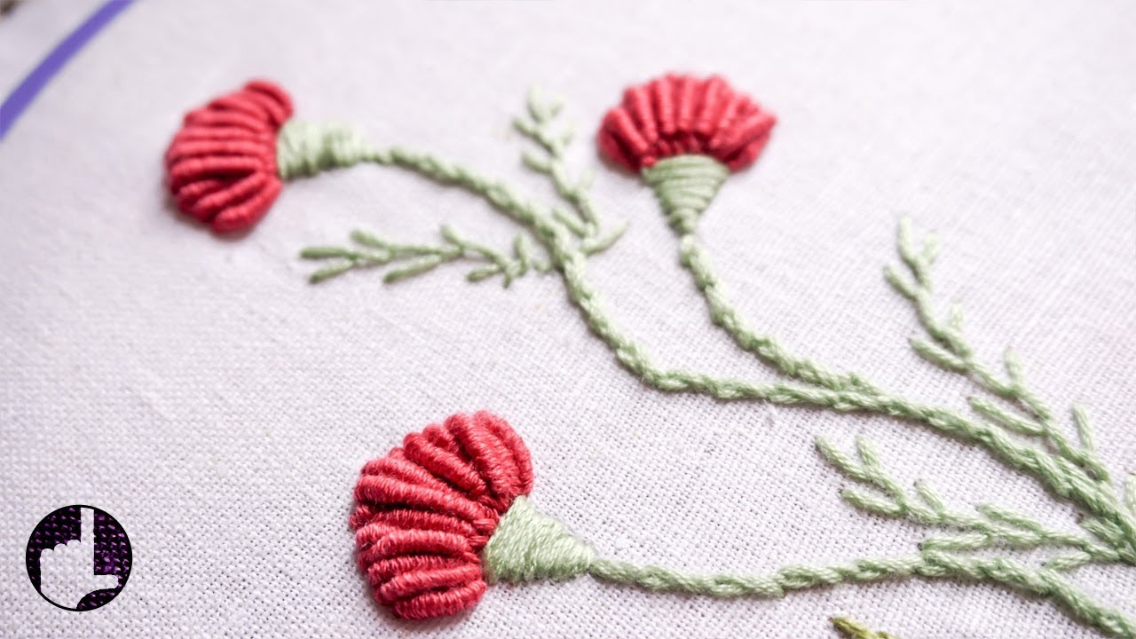 Hand Embroidery Flower Designs For Dresses Handiworks 56 Youtube